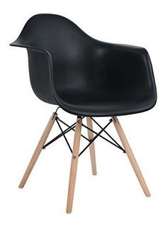 Silla Eames Con Descanza Brazo Negra, Silla Moderna
