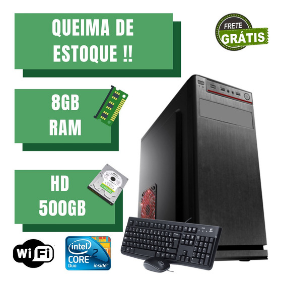 Cpu Montada Core 2 Duo 500gb 8gb Ram Windows 10 Wifi. Frete