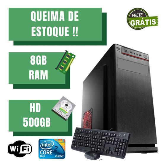 Cpu Montada Core 2 Duo 500gb 8gb Ram Windows 10 Wifi. Frete