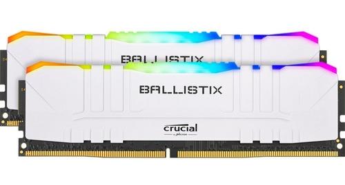 Imagem 1 de 2 de Memoria Ram Gamer Ballistix Rgb White 32gb (2x16gb) 3200mhz