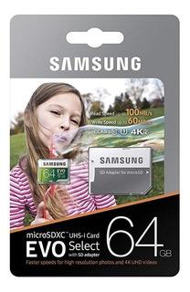 Tarjeta De Memoria Samsung Microsd Hc Evo Select De 64 Gb 4k
