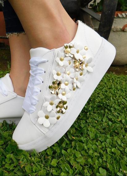 Tenis Flores Blanco Mod.220