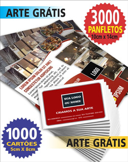 Kit 3000 Panfletos + 1000 Cartões De Visitas + Arte Grátis