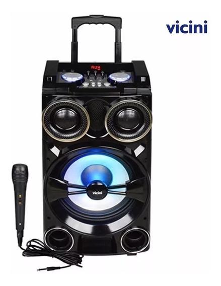 Caixa De Som 300w Rms Portátil Amplificada Usb Mp3 Radio Fm