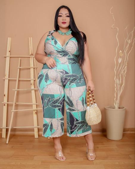 Pantacourt Macacão Feminino Plus Size Ultra Confortável
