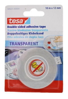 Cinta Doble Faz Transparente 12mm X 10m Tesa