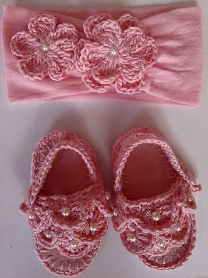 Huaraches Tejidos Tiara Para Bebé Perlas Y Flores