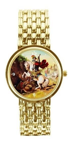 São Jorge Relógio Personalizado Feminino Dourado 3330