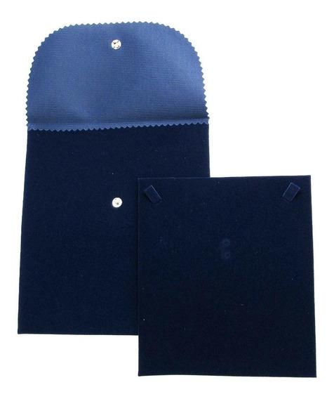 Envelope Veludo Médio Para Colar Azul
