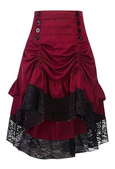 Alivila.y Fashion Falda Steampunk Gotica Para Mujer, Asimetr