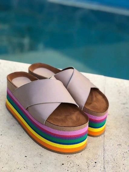 Zuecos De Cuero Rainbow