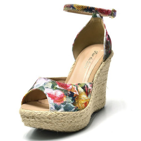 7de65ac13e Sandália Anabela Corda Florida Feminino - Sapatos no Mercado Livre ...