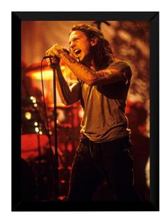 Quadro Banda Pearl Jam Arte Show Brasil Cartaz Moldurado