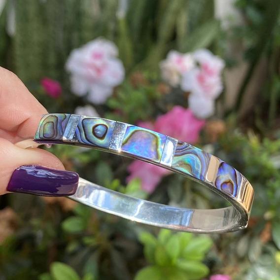 Bracelete De Prata 925 Fio Quadrado Grosso Com Pedra Natural