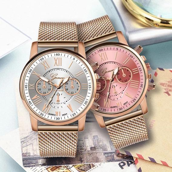Kit 8un Relógio Feminino Dourado Geneva Atacado Lote Revenda
