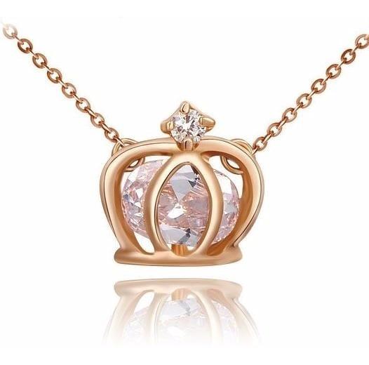 Colar Feminino Pingente Coroa Banhado Ouro Rose - J1941