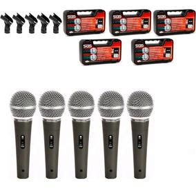 5 Microfones Santo Angelo Sas 58c Maleta Cachimbo Sm 58