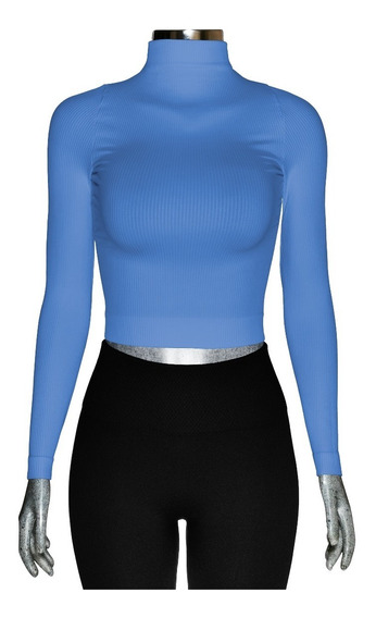 Blusa Lycra Corta, Tipo Crop Top, Cuello Alto, Manga Larga