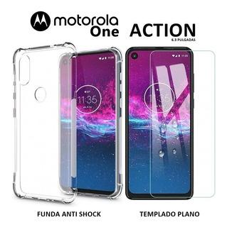 Funda Anti Shock + Templado Plano Motorola Moto One Action