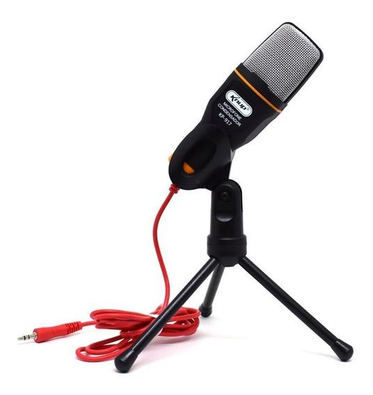 Microfone P2 Condensador Kp-917 Knup Com Tripé Profissional