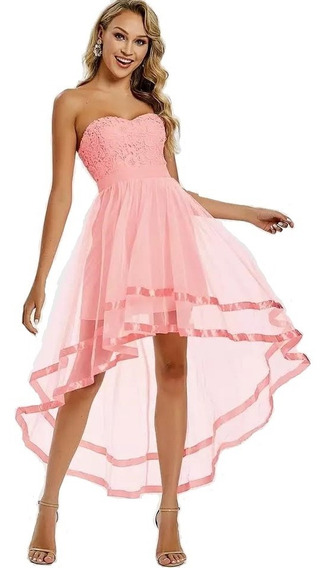 Vestido Fiesta Dama Formal Encaje Color Durazno