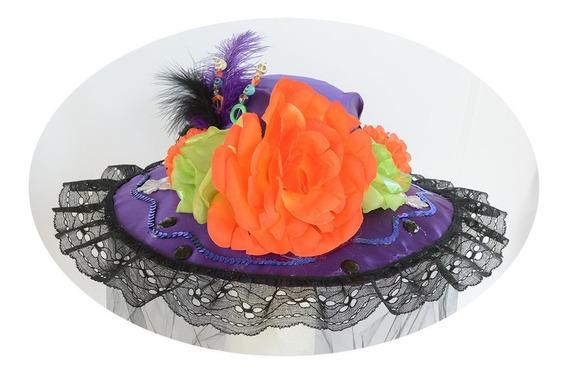 Sombrero Catrina A Dia Muertos Halloween Disfraz Morado