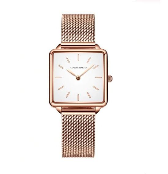 Relógio Feminino Quadrado Pulseira Aço Inoxidável