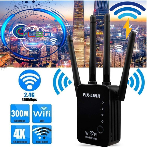 Imagen 1 de 5 de Repetidor Amplificador Wifi Extensor Pix-link Lv-wr16 4 Ante