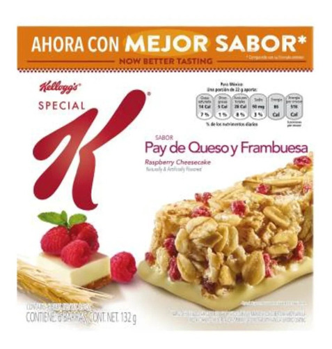Barras Kellogg's Special K Sabor Pay De Queso Y Frambuesa