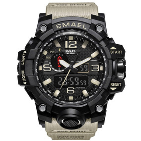 Relógio Masculino Militar Preto Khaki Smael Prova D