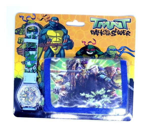 Relógio + Carteira 3d Tartarugas Ninja Analógico Oferta 011