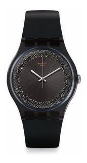 Reloj Mujer Swatch Suob156 Darksparkles Swarovski + Regalo !