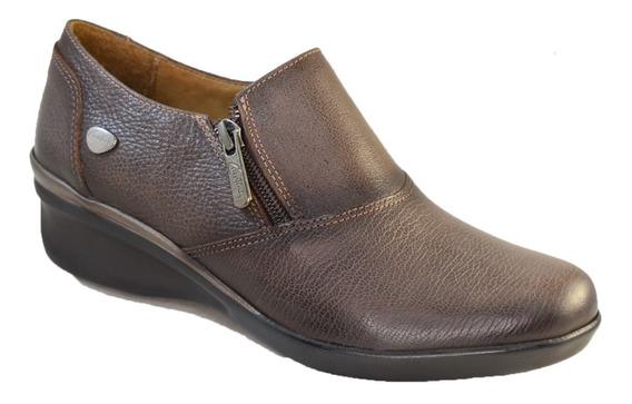 Zapato Cavatini Cuero Mujer Con Doble Cierre En Capellada