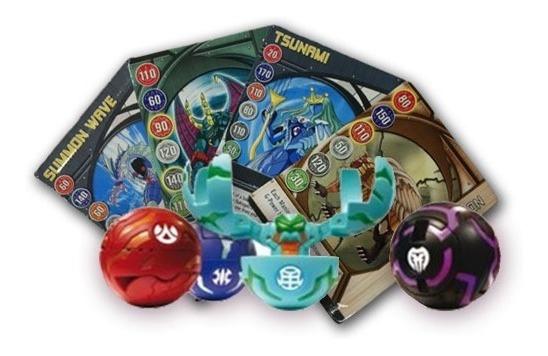 Esferas Bakugan 4 Figuras 4 Cartas Battle Brawler Sellado