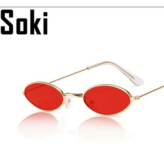 Óculos De Sol Oval Pequeno Trap Hype Retrô Vermelho Fino
