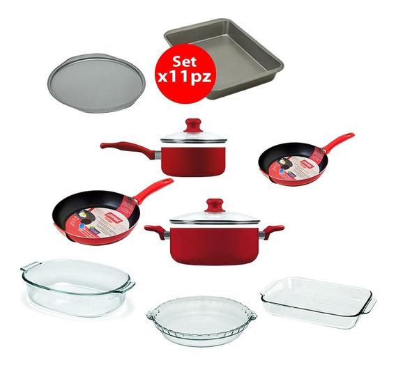Bateria De Cocina + Set De Fuentes Coccion X11pz Pyrex