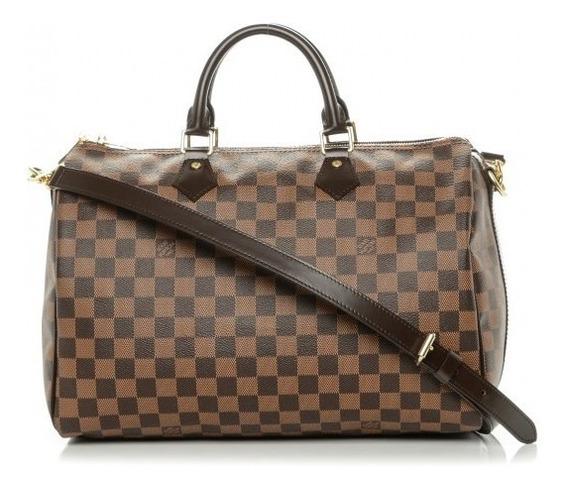 Speedy 35 Louis Vuitton Ebene Couro Legitimo Italiana