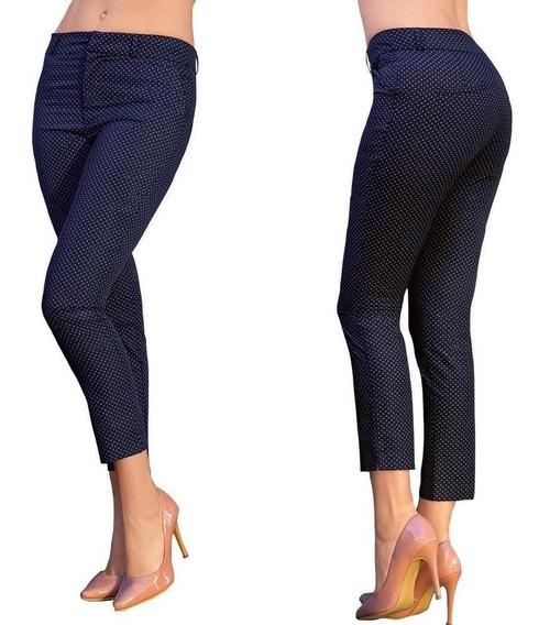 Pantalón Capri Dama Mujer Algodon Marino Moda Formal Comodo