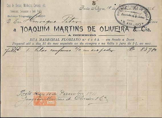 Recibo De Joaquim Martins De Oliveira-p.alegre C/selo Fiscal