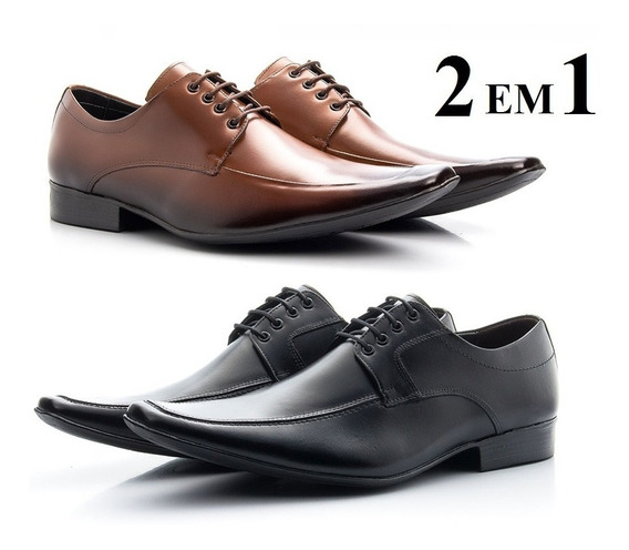 Kit 2 Pares De Sapatos Social Em Couro Italiano Frete Gratis
