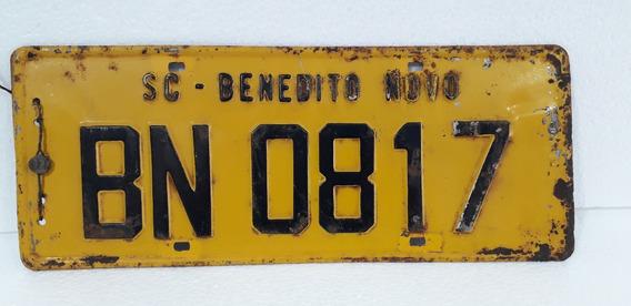 Placa Amarela Antiga Benedito Novo Sc Coleção Decoração 1967