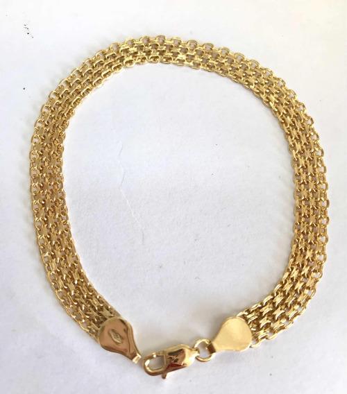 Labelejoias Pulseira Esteira Bismark Ouro 18k 750.