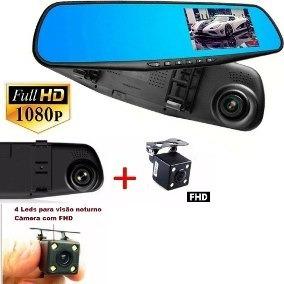 Kit Espelho Retrovisor Tela Lcd +câmera Frontal+câmera Ré