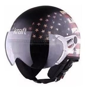 Capacete Moto Kraft Bandeira Eua Fosco Aberto 56 57 58 Usa