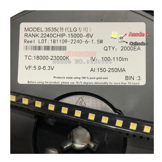 Kit 100x Led 6v 2w 3535 P/barras Tv Lg Innoteki Linha-lb