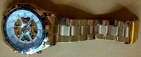 Relógio Automático Importado Winner Dourado Novo