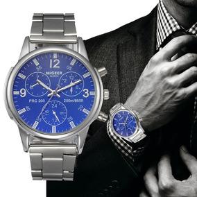 Homens Relógio De Luxo Cristal Pulseira De Aço Inoxidável