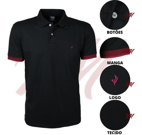 Camisa Gola Polo Piquet Lisa Com Frisos Marca Tolentex Luxo