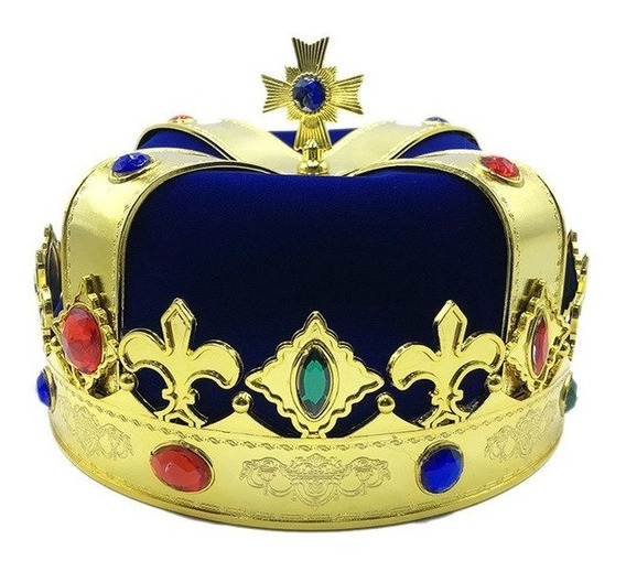 Corona Rey Mago Principe Reina Fiesta Real Reina Joyas Azul