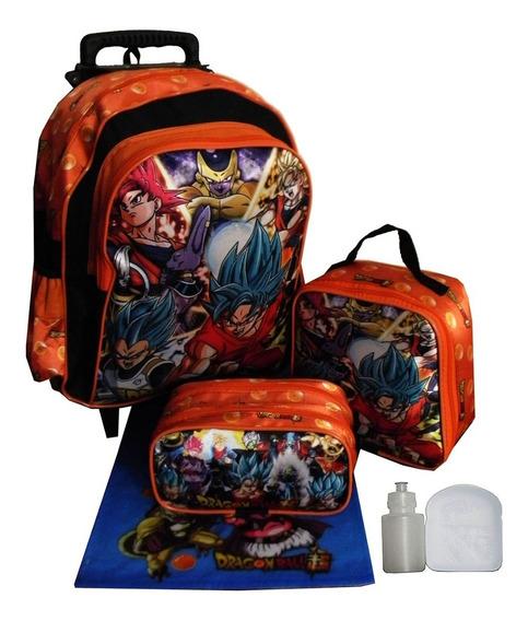 Kit Mochila Infantil Dragon Ball Z Rodinhas Escolar Completo